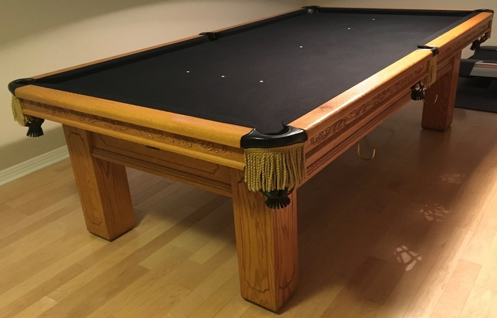 Beautiful 9 Foot Solid Oak Snooker Table
